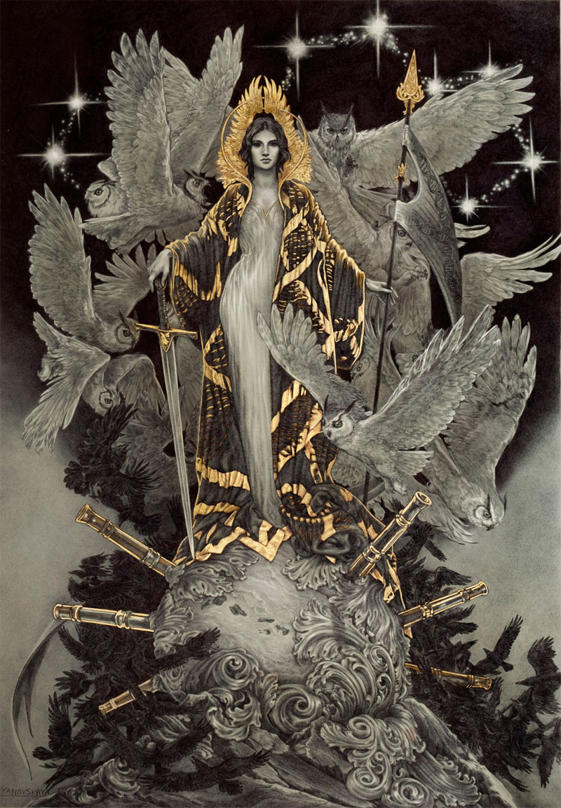 Ballpoint pen and gold leaf illustrations by rebecca for Maitresse lilith