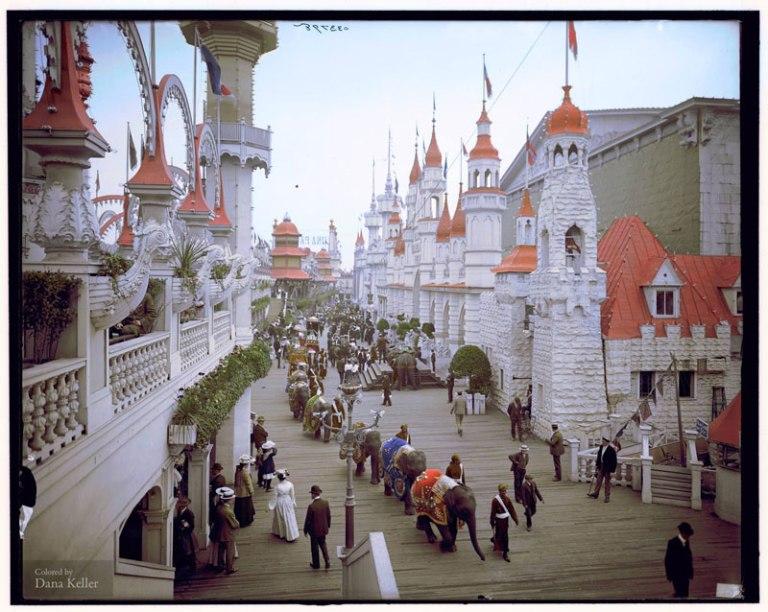 coney island in color circa 1905 luna park promenade (1)