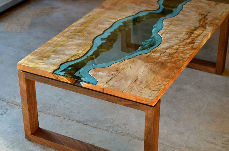 Furniture with rivers of glass running through them for State of the art furniture