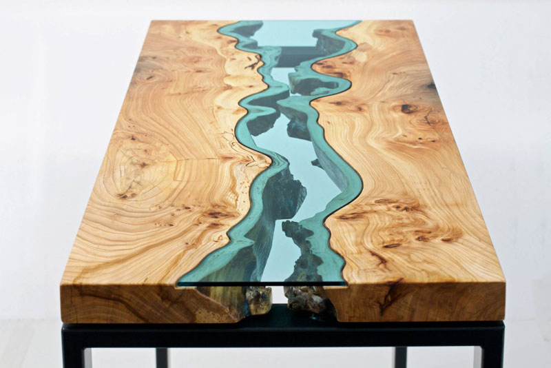 furniture with rivers of glass running through them by greg klassen 4 Unique Flooring Made from Old Leather Belts