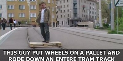 This Guy Put Wheels on a Pallet and Rode Down an Entire Tram Track