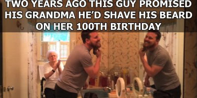 Grandson Fulfills Promise to Shave Beard for Grandma's 100th Birthday
