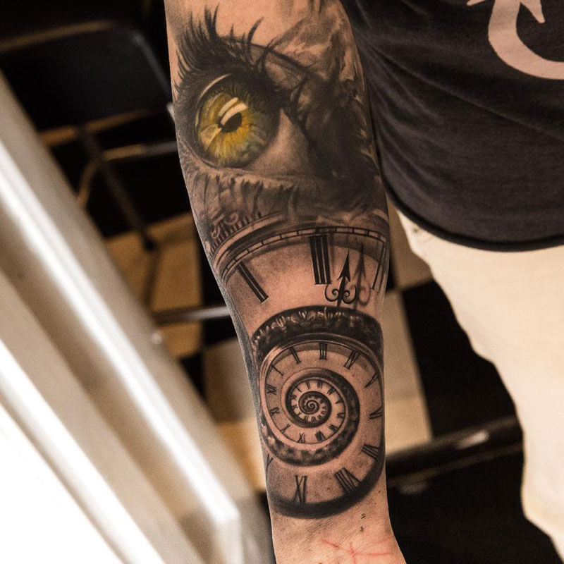 Insanely detailed sleeve tattoos by niki norberg for Eye with clock tattoo