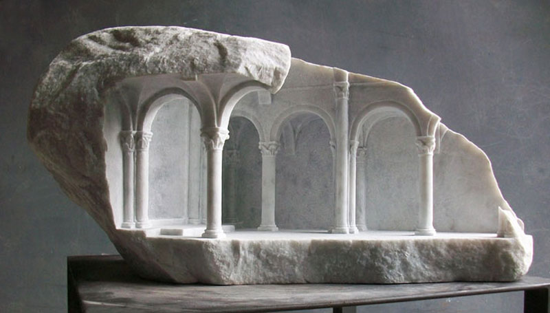 Miniature Columns and Pillars Carved Into Marble