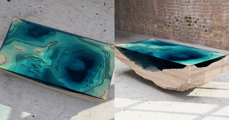 ocean cross section coffee table DIY Shelves with Glow in the Dark Resin  Inlay