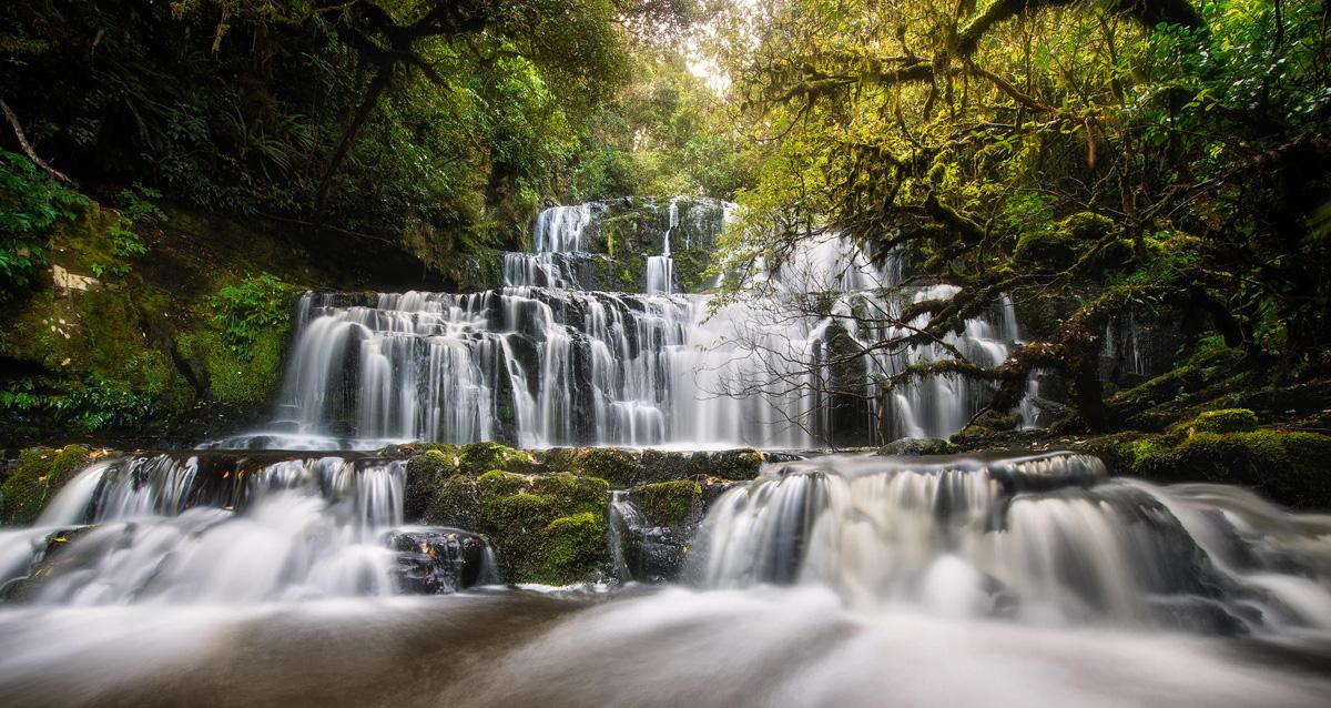 purakaunui-falls new zealnd multi-tiered cascading