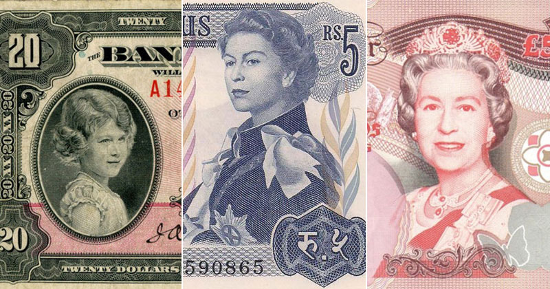 15 Banknotes that Show Queen Elizabeth Age from a Child to an ElderlyWoman