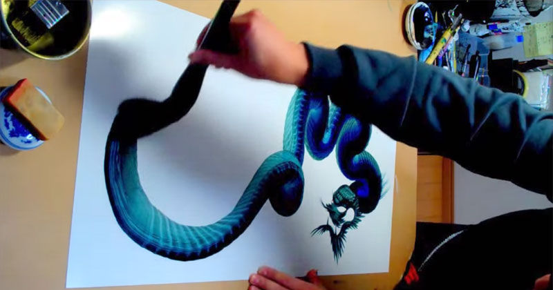 artist-paints-dragon's-body-in-single-brush-stroke