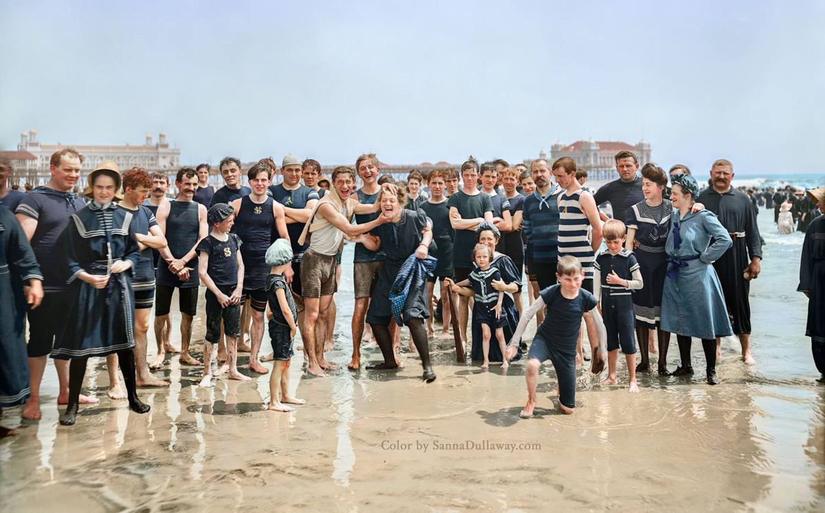 colorized beach photo 1905 atlantic city new jersey sanna dullaway