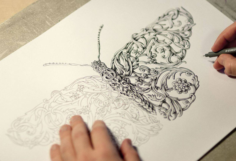 Ornate Ink Illustrations by Alex Konahin