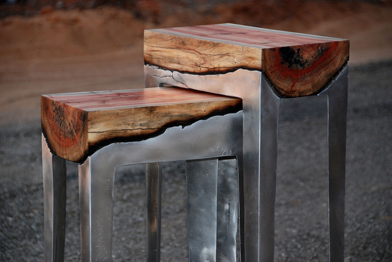 molten metal meets wood furniture hilla shamia 1 Unique Flooring Made from Old Leather Belts