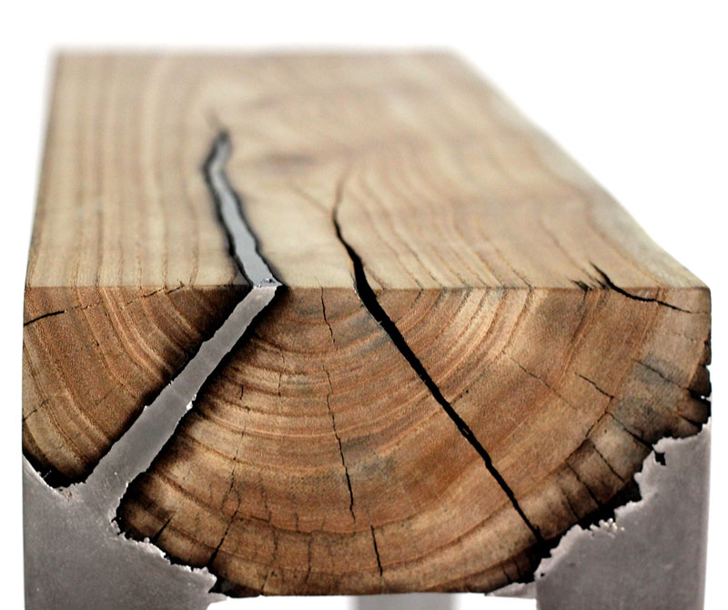 Molten Metal Meets Wood Furniture Hilla Shamia (3)