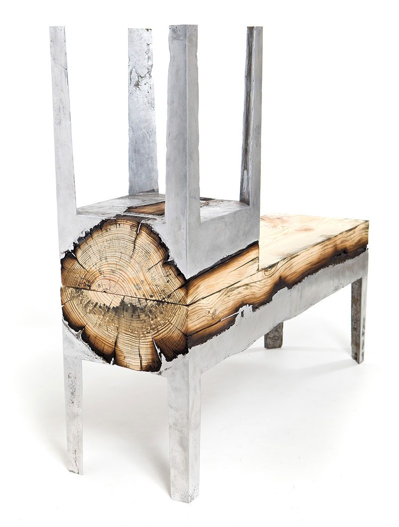 Molten metal meets wood to create one of a kind furniture Wood and steel furniture