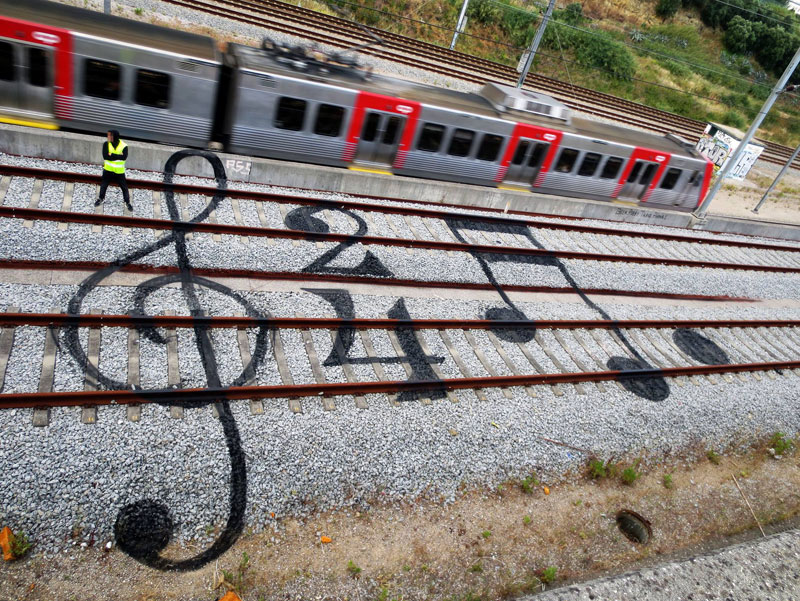 railroad sheet music street art by bordalo The Sifters Top 75 Pictures of the Day for 2014