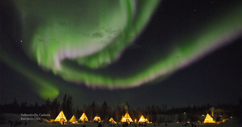 aurora borealis in real time yellowknife canada This Frozen Pond Looks Like a Japanese Rock Garden