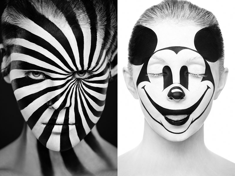 Black and White Portraits of Faces Painted Black andWhite