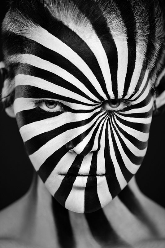 Black and white portraits of faces painted black and white 4