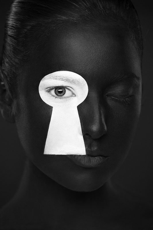 Black and White Portraits of Faces Painted Black and White ...