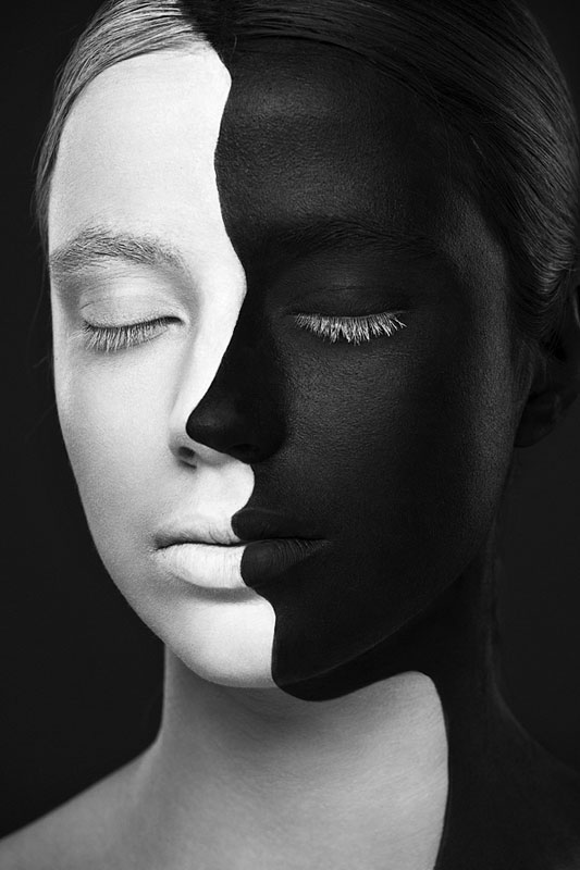 Black and white portraits of faces painted black and white 8