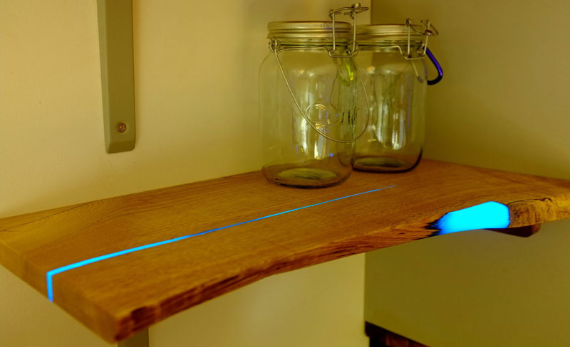 Glow In The Dark Resin diy shelves with glow in the dark resin inlay «twistedsifter