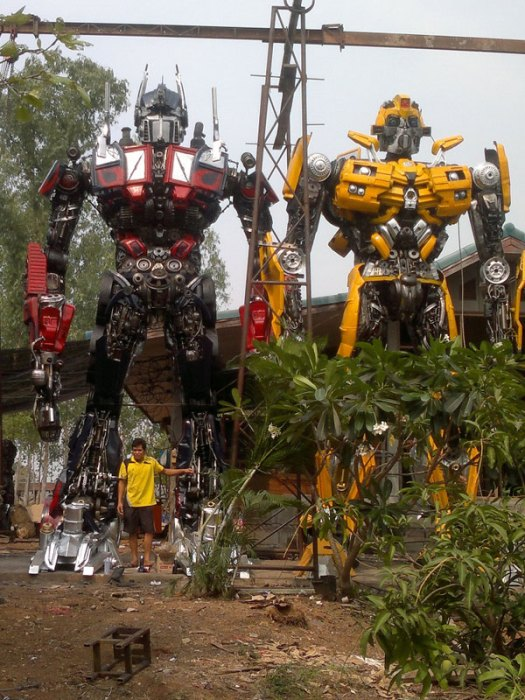 giant transformers made from old car parts 8 This Drivable Tron Light Cycle Can Be Yours in May