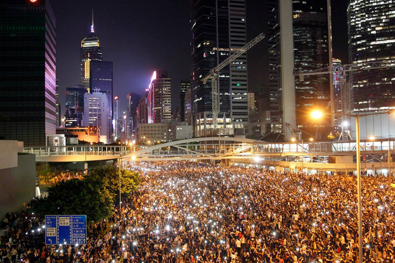 hong kong protests aerial at night cell phones 2014 The Sifters Top 75 Pictures of the Day for 2014