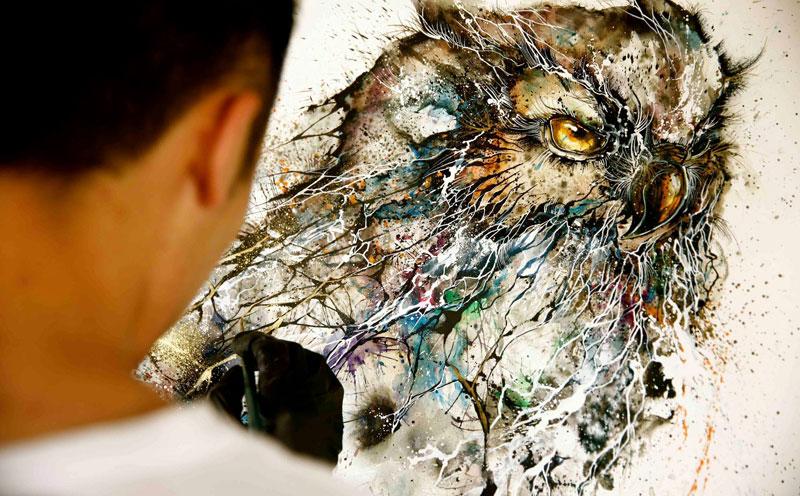 Jaw-Dropping Splattered Ink Animal Portraits by Hua Tunan