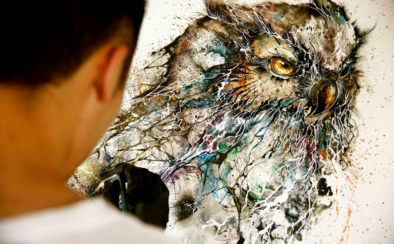 Jaw-Dropping Splattered Ink Animal Portraits by Hua Tunan