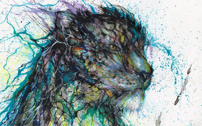 splatter ink animal portraits by hua tunan (10)