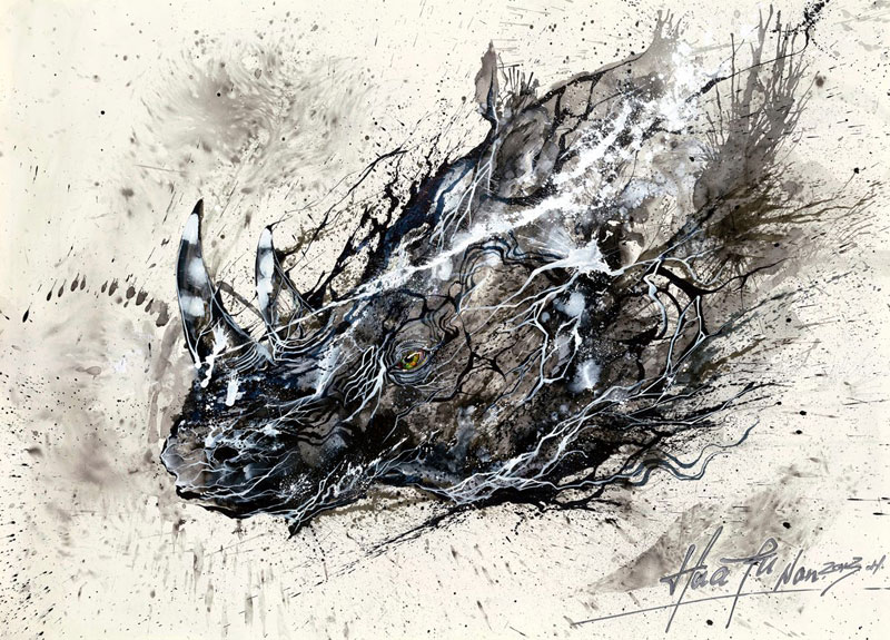 splatter ink animal portraits by hua tunan (12)