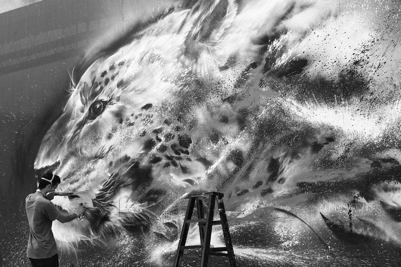 splatter ink animal portraits by hua tunan (16)