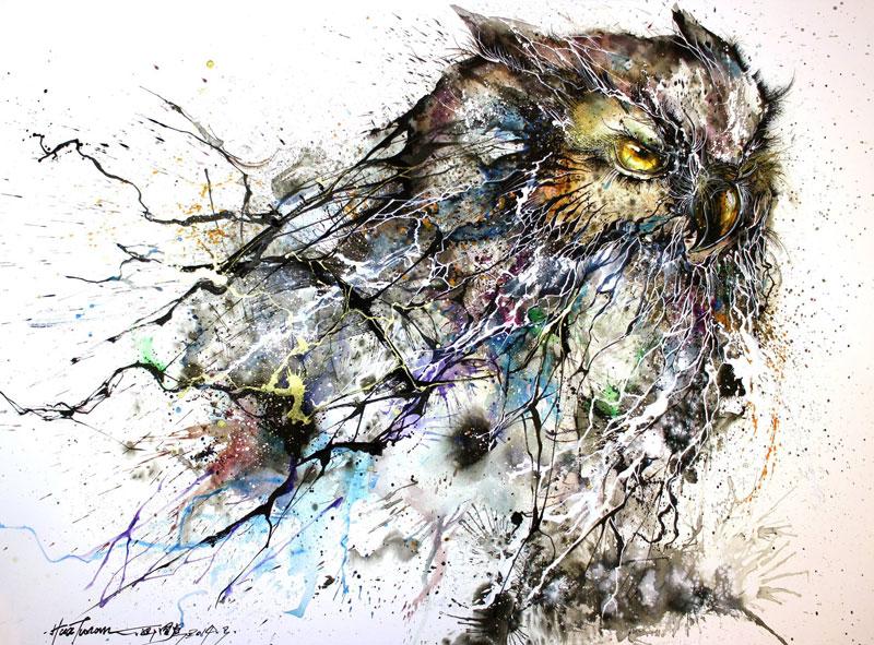 splatter ink animal portraits by hua tunan (3)