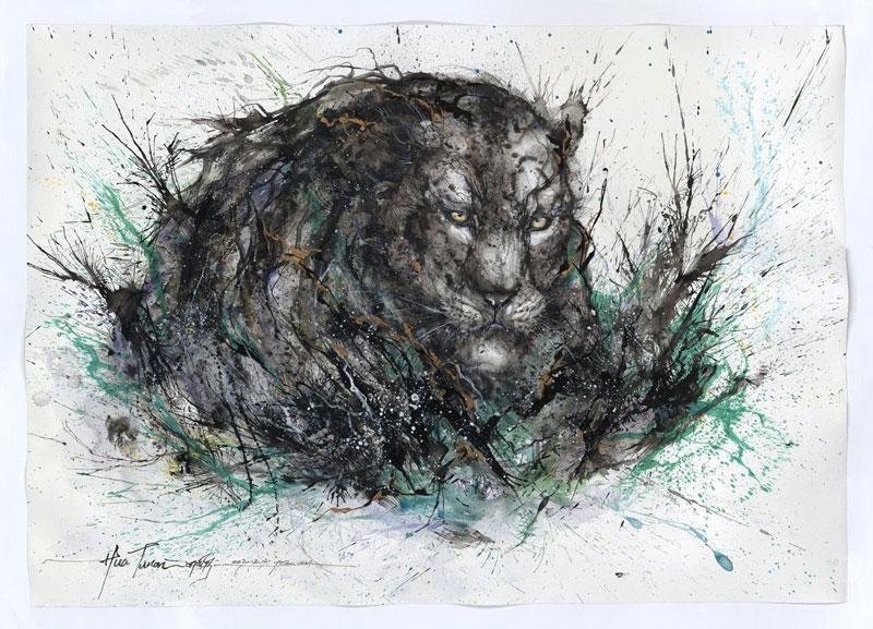 splatter ink animal portraits by hua tunan (4)