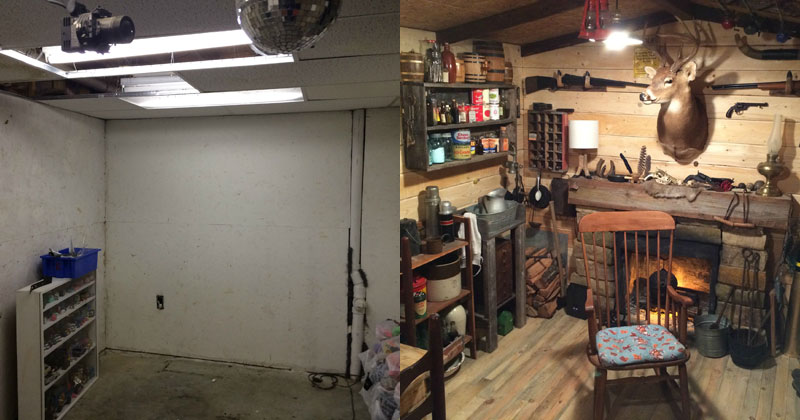Small Man Cave Basement : This guy built a rustic cabin man cave for «twistedsifter