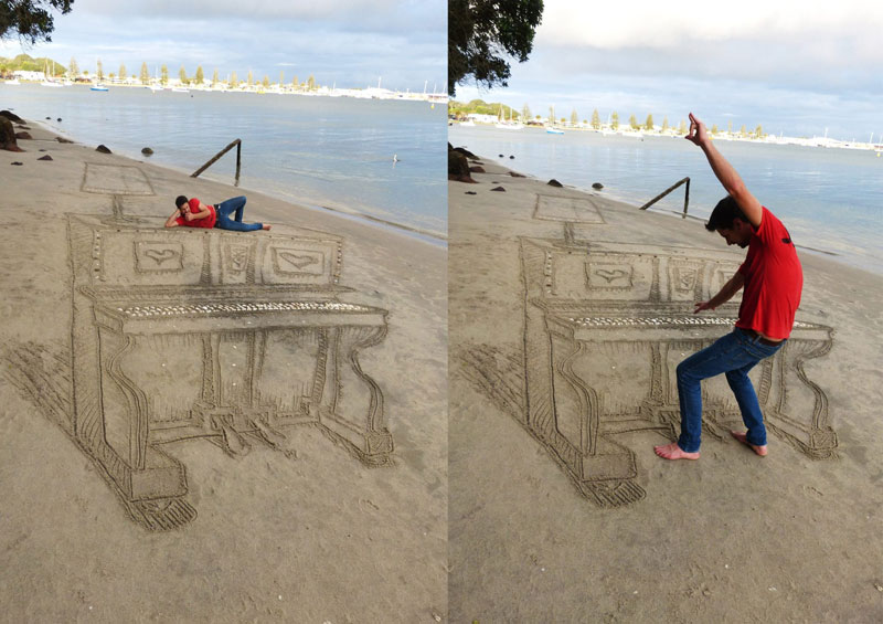 3D Sand Piano Beach Art by Jamie Harkins