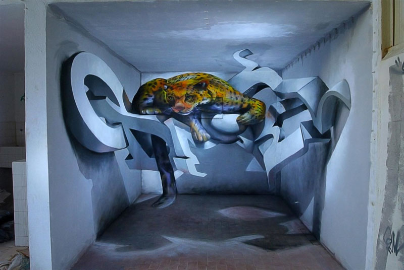 anamorphic graffiti murals that leap off the wall by odeith 12 Jaw Dropping Chrome Dog Mural is 100% Spray Paint