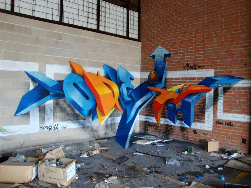 anamorphic graffiti murals that leap off the wall by odeith 2 Multi Layered Graffiti Murals of Popular Expressions