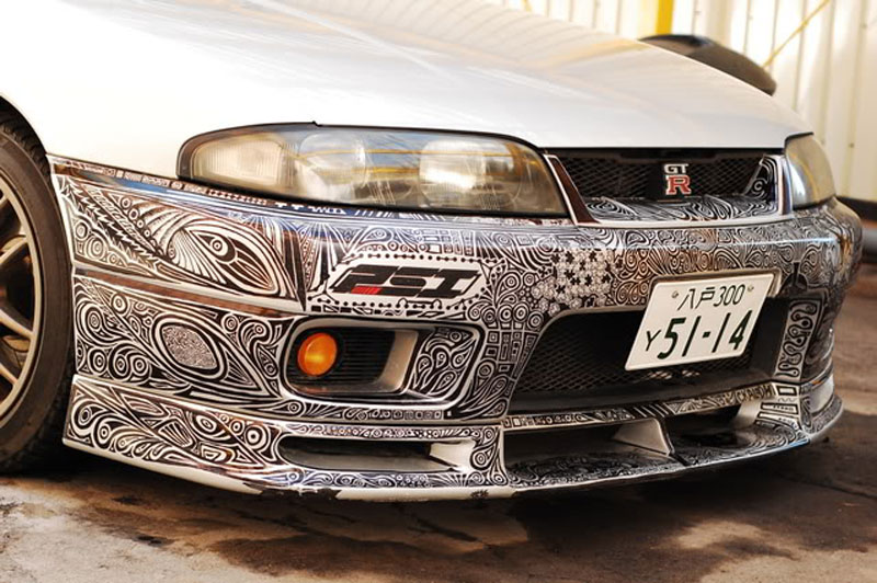 Artist Uses Sharpie To Give Nissan Skyline GTR One Of A Kind Paint - Cool car art