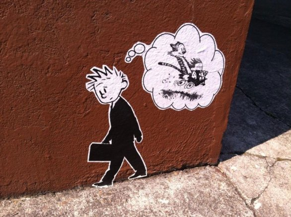 calvin-and-hobbes-street-art-in-portland-calvin-in-suit-dreaming-of-childhood