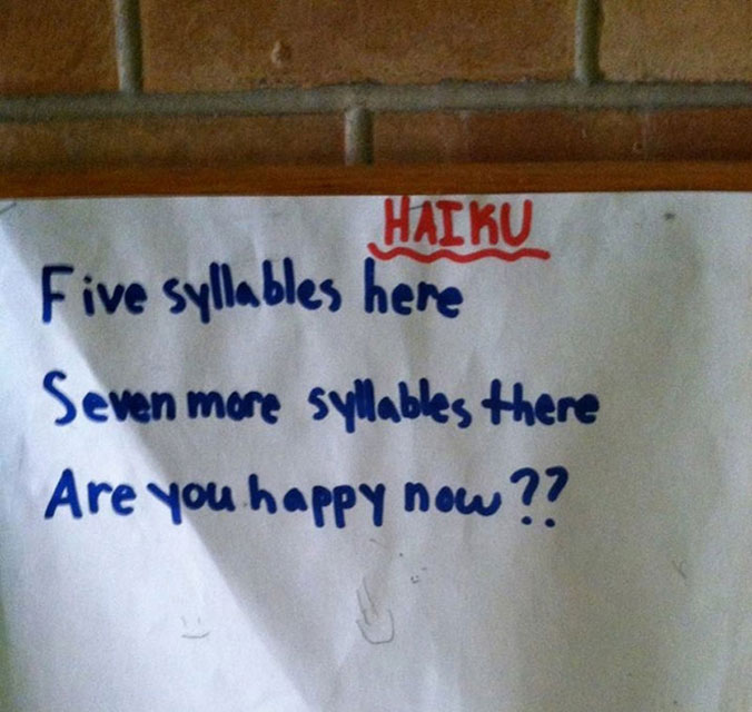 Teacher Asks Students to Write Haikus, This Kid Wins