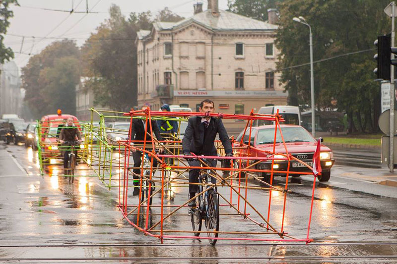 latvian cyclists demonstrate bikes taking up as much space as cars 2 Car Free Day   Recent Event