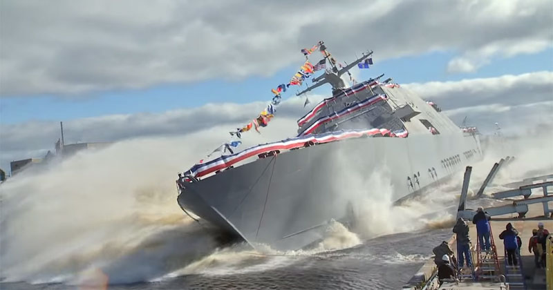 Side Launching the 378 ft USSDetroit