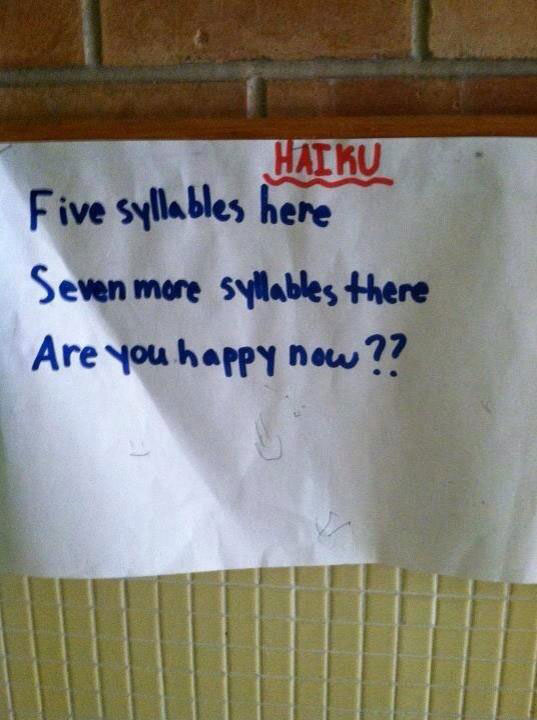 student writes funny haiku for class Teacher Asks Students to Write Haikus, This Kid Wins
