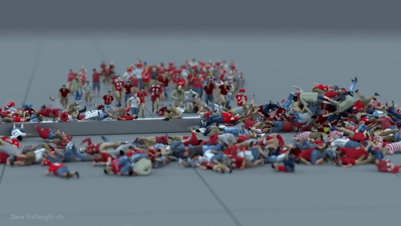 Just Hundreds of CGI People Running Into a Swinging Metal Fence
