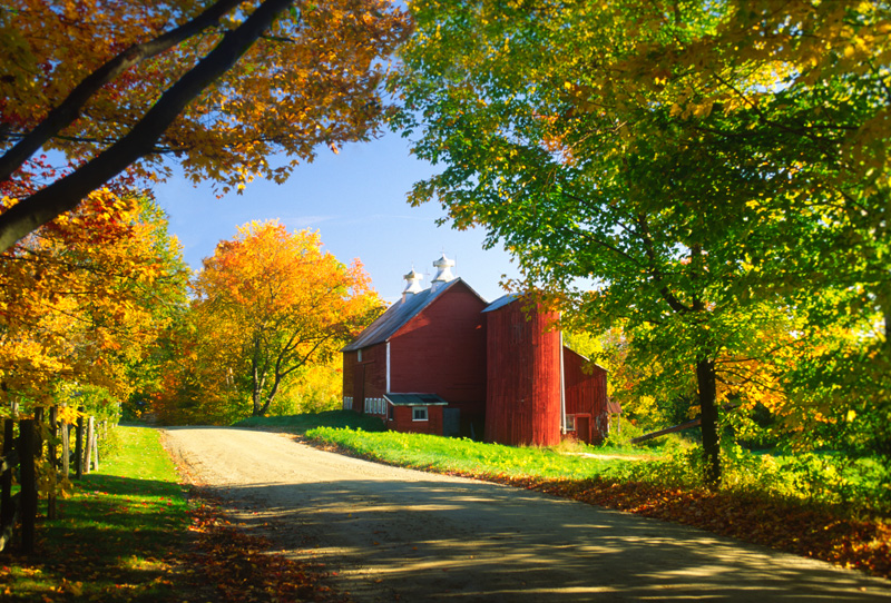 Country barn on an autumn afternoon.
