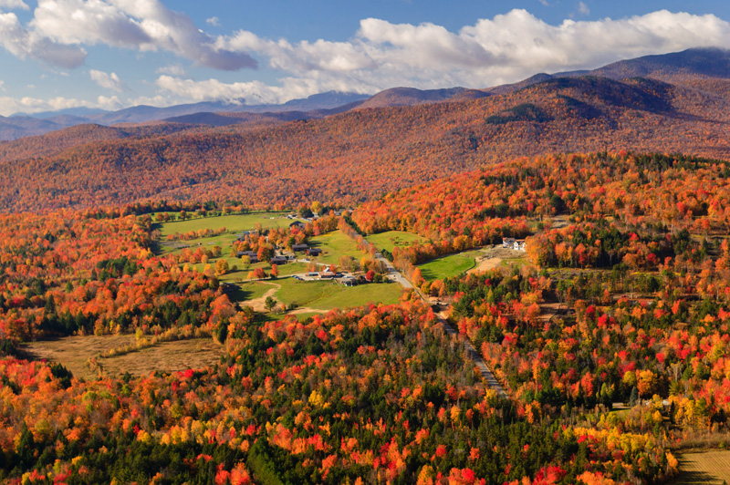 Aerial view of fall foliage in Stowe, Vermont