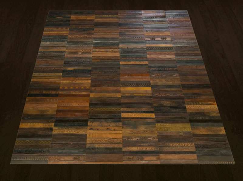 flooring rugs made from old leather belts by TING (7)