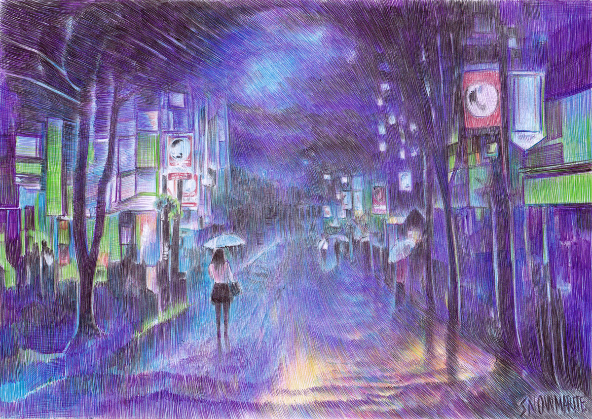 into the night by snowmarite d85q4bg Beautiful Ballpoint Pen Drawings by Marite Desaine