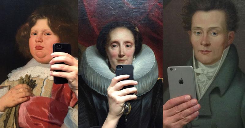 Photos of Museum Paintings Taking Selfies