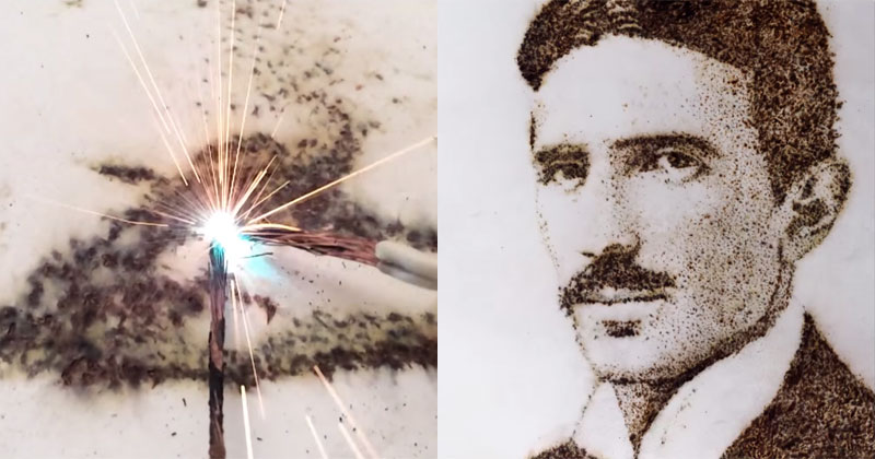 Tesla Portrait Made from Sparks ofElectricity